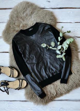 Джемпер с кожаными вставками topshop