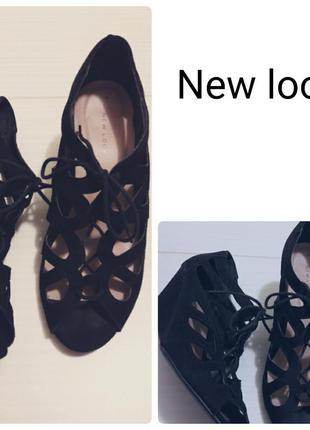 Босоножки на танкетке#на шнуровке#39 размер#new look#зам
