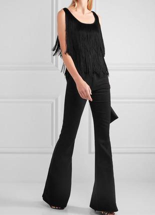 Черная блуза,майка, нарядная с бахромой, бисер m&s р 14