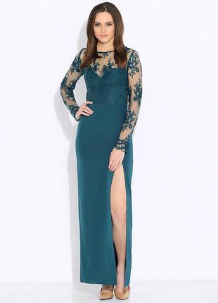 Новое длинное зеленое вечернее платье
