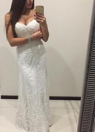 Роскошное эксклюзивное свадебное платья / италия /  шикарное кружево /обшитое бисером / открытые пле