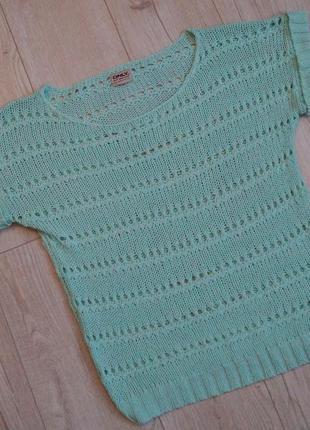 Нежный мятный вязаный свитер only