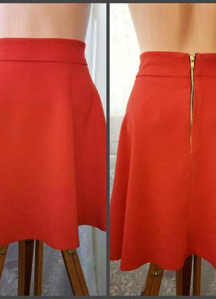 Терракотовая юбка с золотистой молнией