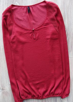 Шикарная вишневая блуза с шифоновыми вставками bershka