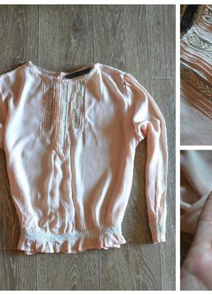 Блуза zara с ажурными вставками