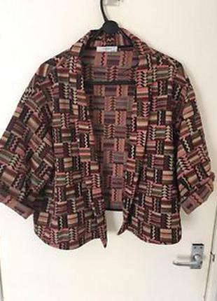 Стильный кардиган легкая куртка кроп пиджак бохо африканский стиль м