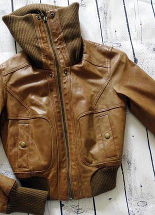 Коричневая кожаная куртка s 42
