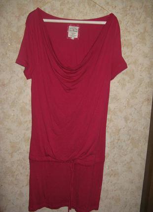 Трикотажное платье туника цвета марсала