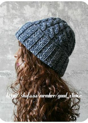 Хлопковая шапка с отворотом/с косами угольного/циркониевого цвета (меланж)