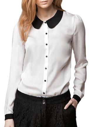 Белая блузка с черным ворoтником asos