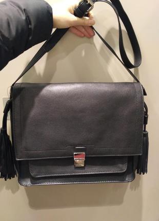 Новая сумка портфель черная кожаная