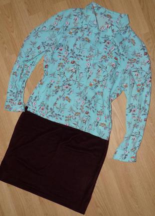 Модная бархатистая юбка винного марсала цвета, р.46-48