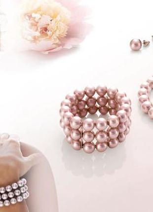 Набор жемчужный:серьги,ожерелье и браслет