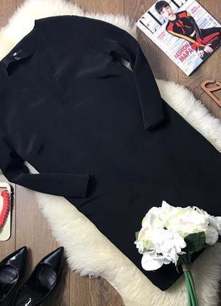 Сдержанное демисезонное платье прямого покроя с v-образным вырезом    dr0305    h&m