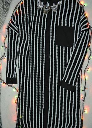 Плотное платье-рубашка в косички со спущеными плечами