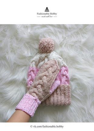 ❄ милейший вязаный комплект, шапка и варежки ❄