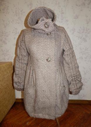 River island шикарное женское пальто с карманами 38% шерсть, стильное модное р8
