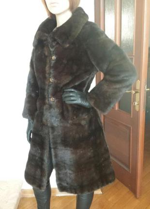 Норковая шуба полушубок пальто поперечка норка р. 44