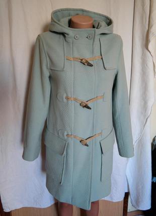 Мятное пальто m&s с капюшоном