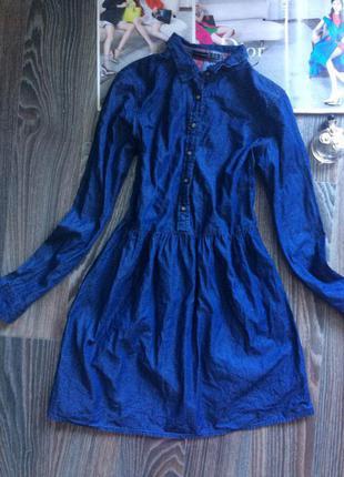 Платье рубашка стильное на резике джинсовое под джинс длинный рукав
