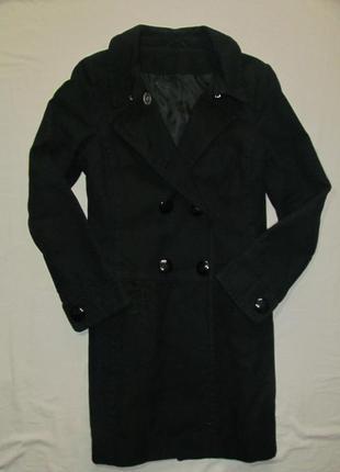 Черное демисезонное тренч пальто с крупными пуговицами