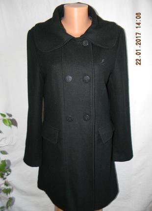Стильное черное шерстяное пальто kangol