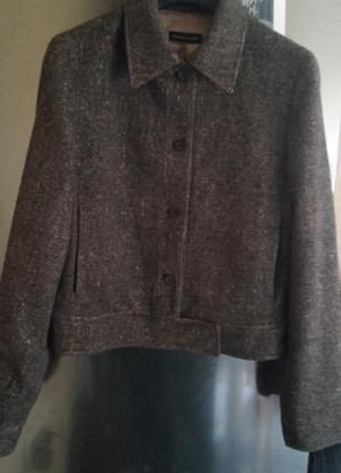 Твидовая шерстяная куртка massimo dutti