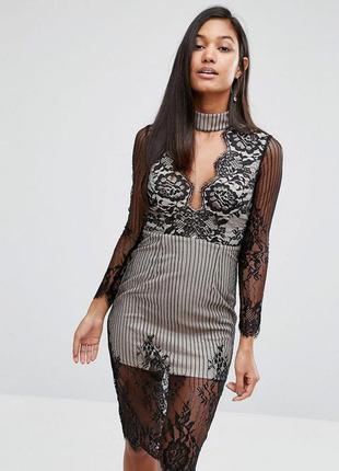Премиум платье с кружевом модным чокером love triangle asos