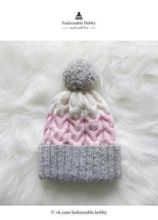 ❄ нежная серо-розовая шапочка ❄