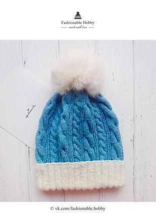 ❄ вязаная шапочка голубого цвета с натуральным помпоном ❄