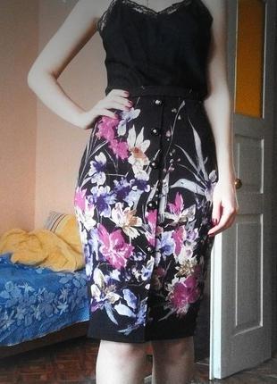 Юбка миди карандаш черная цветы