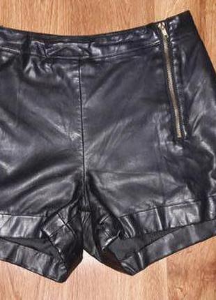 Стильные кожаные шорты topshop