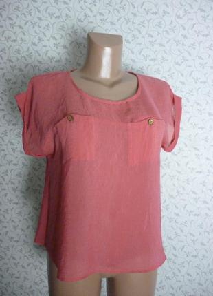 Легкая розовая футболка блуза блузка atmosphere размер xs - s oversize вискоза