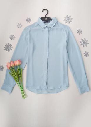 Нежно-голубая блузка с воротничком с шипами от atmosphere размер l (12) (см. замеры).
