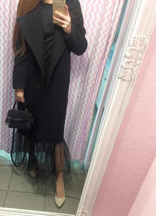 Шикарное кашемировое пальто с фатином