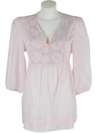 Розовая блуза с вязаной вставкой