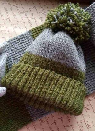 Набор вязаный, шапка + шарф, ручная работа, серого и зеленого цвета