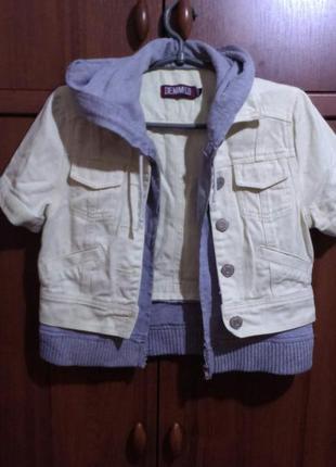 Куртка короткая джинсовая с тканевым копюшоном