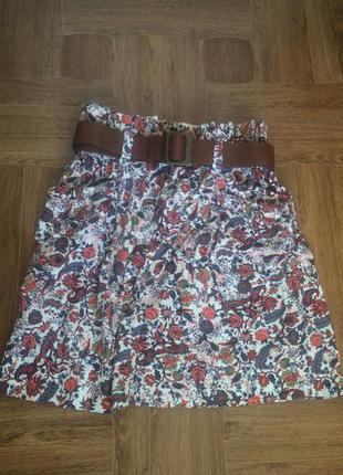 Вельветовая юбка zara с ремешком