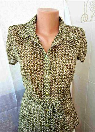 Чудесная шифоновая блуза в оливковых тонах