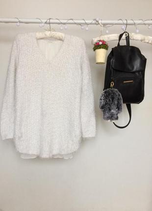 Нежный свитер травка с  шифоновой блузой и длинным рукавом, свободного кроя