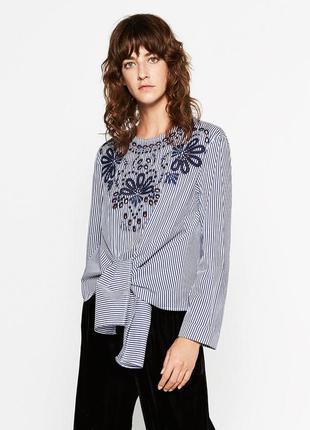 Хлопковая блуза с вышивкой от zara