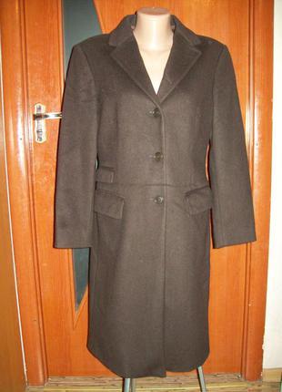 Пальто шоколадное sisley оригинал италия 80%шерсть отличное пог-47см