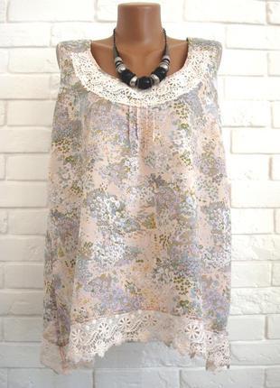 Красивая блуза из льна и хлопка с кружевом m&s uk16 большой размер в идеальном состоянии