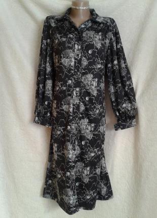 Платье-халат с карманами из струящейся ткани. l-xl