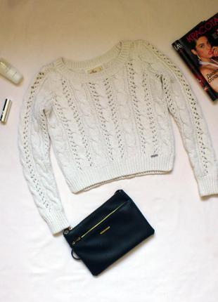 Свитер hollister, шерстяной свитер, теплый свитер, вязанный свитер, короткий свитер, укороченный