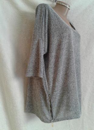 Блузон с фактурной ткани с молниями,5xl