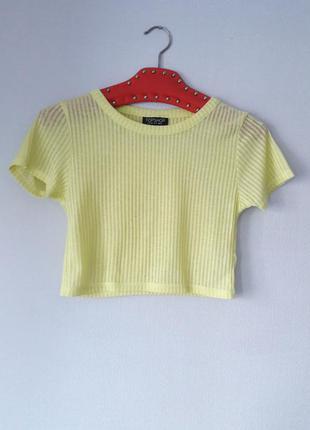 Яркая желтая футболка в рубчик кроп топ укороченная размер xs s topshop