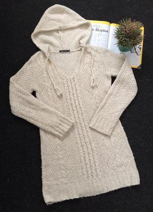 Вязаное тёплое платье - туника от atmosphere с капюшоном