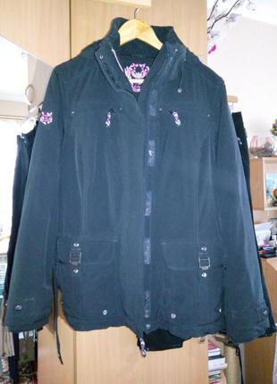 Немецкий лыжный костюм куртка с капюшоном + брюки (черного цвета)